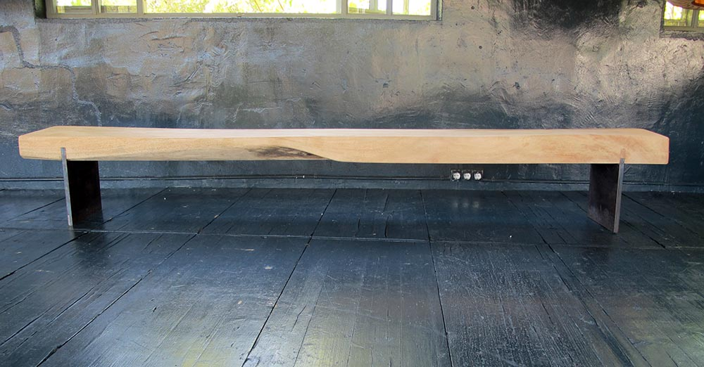 IM bench, hand made with mango wood from Kenya and iron 240x40x45cm h