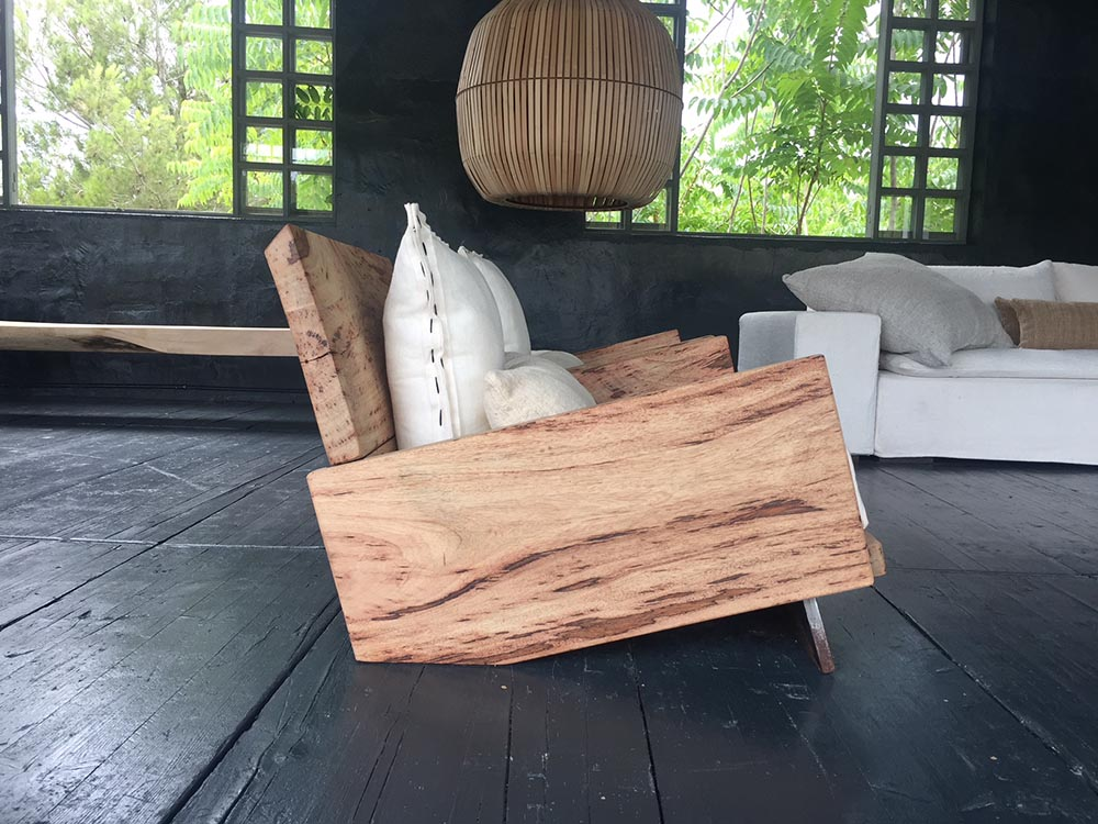 AIR armchair, hand made with mango wood from Kenya and iron 91x88deep x35cm h.seat-65cmh.back